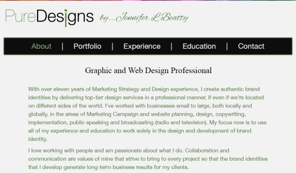 Image of the Home Page of Jennifer's Portfolio Site